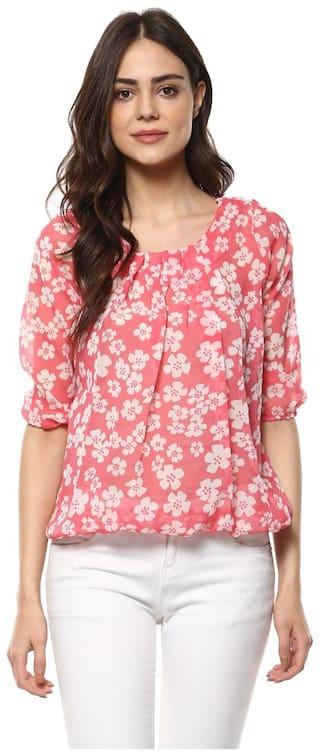 Mayra Women Printed Regular top - Pink