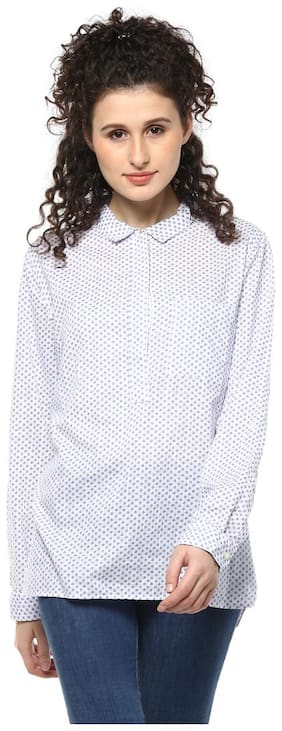 Mayra Women White Floral Regular Fit Shirt