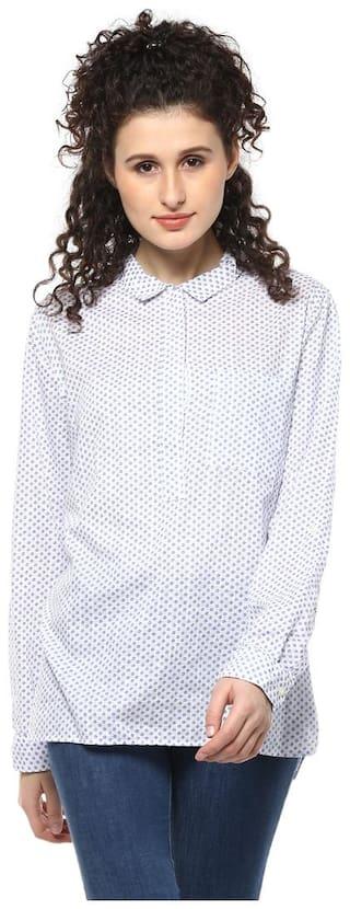 Mayra Women White Floral Regular Fit Shirt