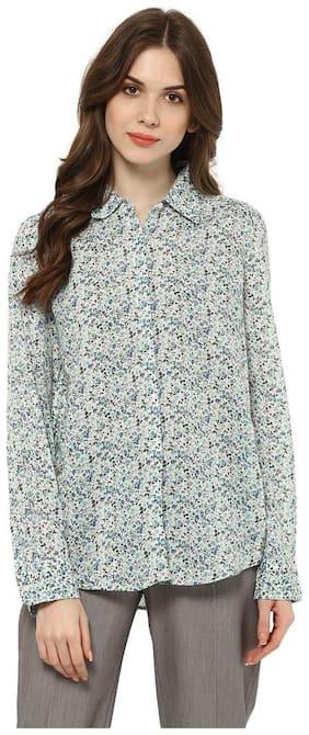 Mayra Women Grey Printed Regular Fit Shirt