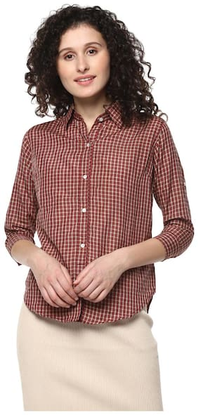 Mayra Women Brown Printed Regular Fit Shirt
