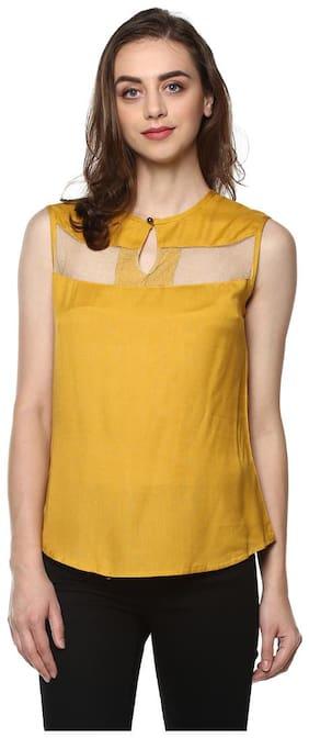 Women Striped Polo Neck Top