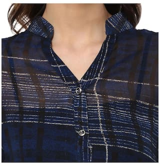 Party Shirt Mayra Women's Georgette Wear Blue UW84Sq