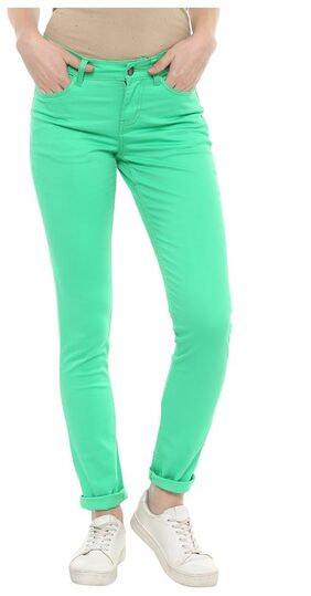 Mayra Women Straight Fit Mid Rise Solid Pants - Green