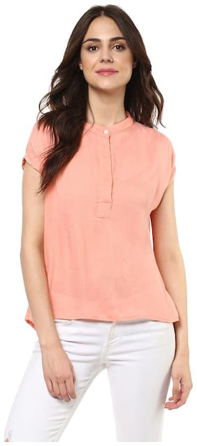 Mayra Women Rayon Solid - Regular top Pink