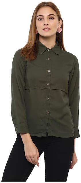 Mayra Women Green Solid Regular Fit Shirt