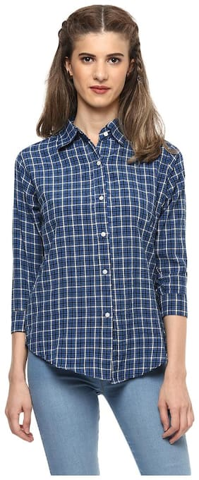Mayra Women Blue Checked Regular Fit Shirt
