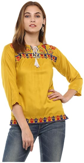 Mayra Women Solid Regular top - Yellow