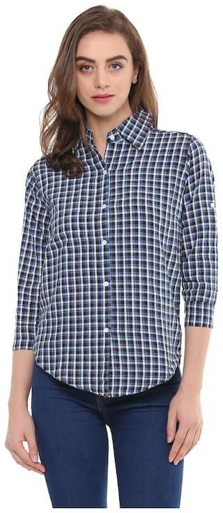 Mayra Women Blue Checked Regular Fit Shirt