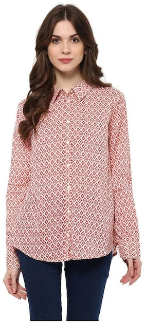 Mayra Women Pink Printed Regular Fit Shirt