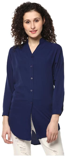 Mayra Women Regular fit Solid Shirt - Blue