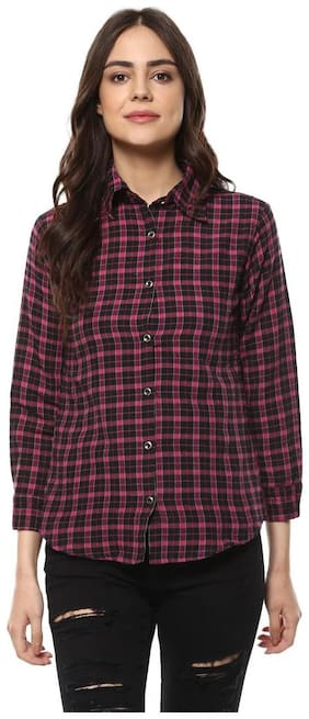 Mayra Women Brown Checked Regular Fit Shirt