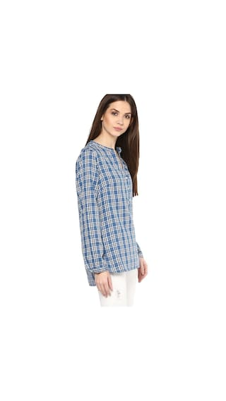 Cotton Check Shirt Print Mayra Boyfriend Women's 6xOw5CqS