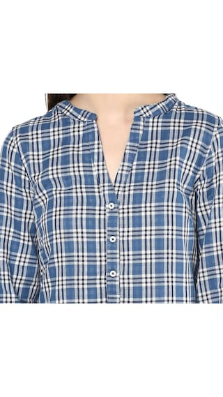 Print Mayra Women's Boyfriend Shirt Check Cotton vf0qZwT6