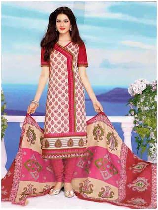 MAHATI Pink cotton Dress Material
