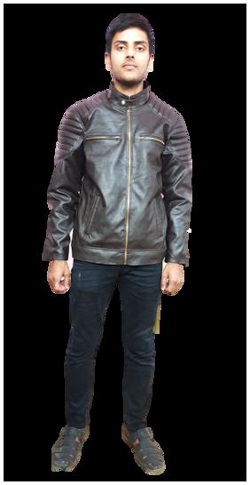MEDI TRADE Men Brown Solid Leather jacket