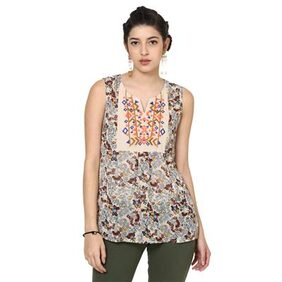 Loom Tree Printed Top With Embroidery