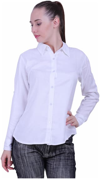Meer India Garments Women White Solid Slim Fit Shirt