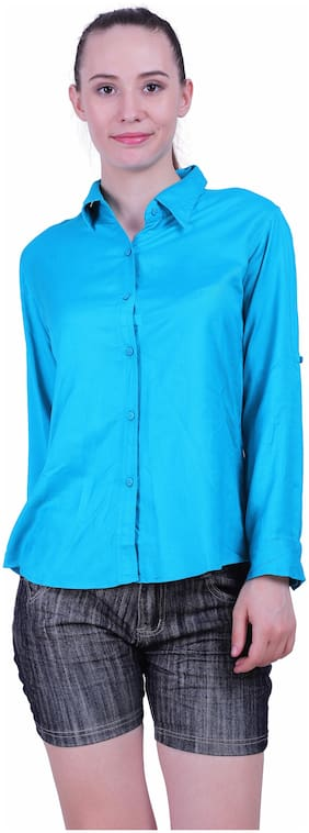 Meer India Garments Women Solid Casual Turquoise Shirt