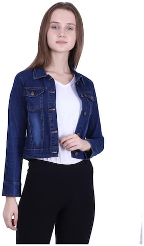 Meer India Garments Women Washed Denim jacket - Blue