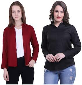 Meer India Garments Women Maroon & Black Solid Regular Fit Shirt