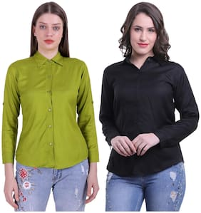Meer India Garments Women Green & Black Solid Regular Fit Shirt