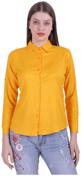 Meer India Garments Women Slim Fit Solid Shirt - Yellow