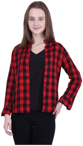 Meer India Garments Women Red & Black Checked Regular Fit Shirt
