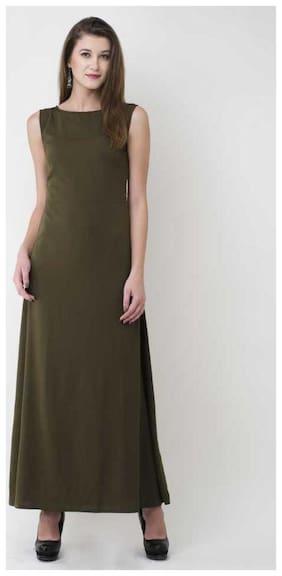 ZISAAN Crepe Solid Maxi dress Green