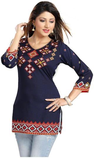 Meher Impex Women Blue Printed Straight Kurta