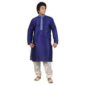 Mehta Apparels Blue Raw Silk Kurta Pyjama