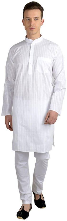 Mehta Apparels White Cotton Kurta Churidar Set