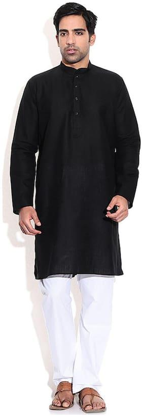 Mehta Apparels Black Cotton Kurta Pyjama