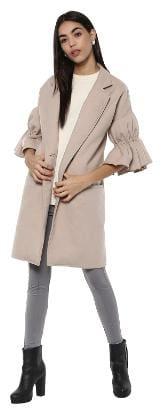 Kazo Women Solid Regular Fit Blazer - Beige