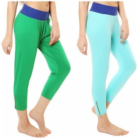 Melisa Comfortable Cotton Lycra Capri Leggings for Women Pack of 2