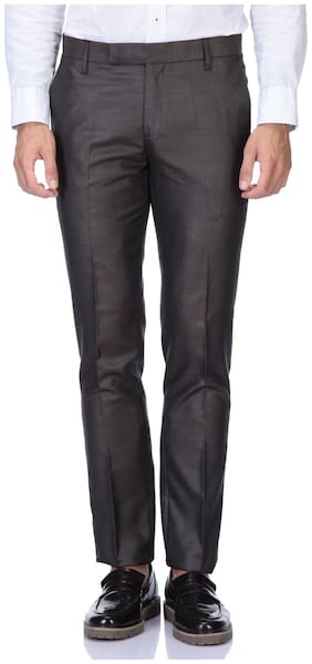 MEN BROWN FORMAL TROUSER