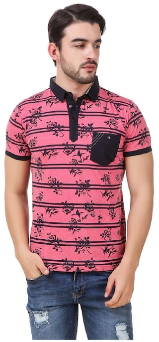 e647f5f0 Men In Class Pink Colour With Floral Print With Strips Regular Fit Cotton  Fabric Men In