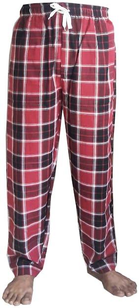 Beezeal Men Cotton Checked Pyjama - Red