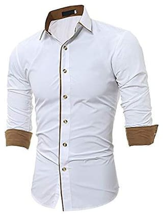 X-MEN Men White Solid Slim Fit Casual Shirt