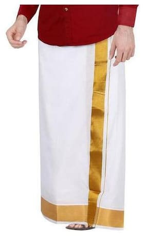 THARUN Cotton Solid Mundu Dhoti - White & Gold