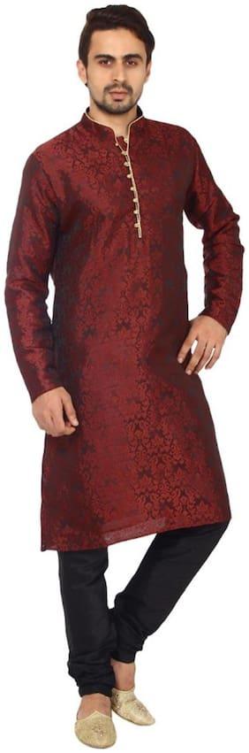 Royal Kurta Men Regular Fit Silk Full Sleeves Printed Kurta Pyjama - Red
