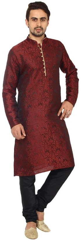 Royal Kurta Men Regular Fit Silk Full Sleeves Printed Kurta Pyjama - Red