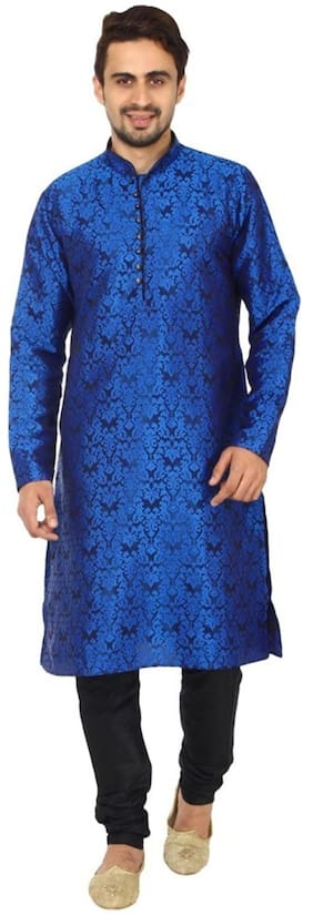 Royal Kurta Men Regular Fit Silk Full Sleeves Printed Kurta Pyjama - Blue
