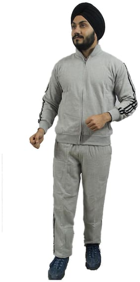 AMIHART Men Grey Solid Regular Fit Track Suit