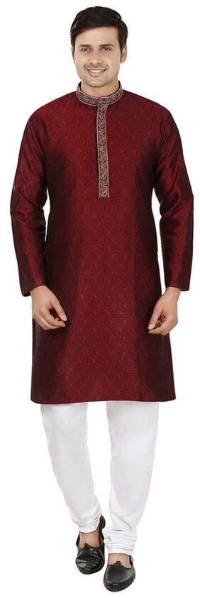 Men's Jacqaurd Silk Embroidered Kurta Pyjama Set By Royal Kurta