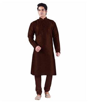 Royal Kurta Men Regular Fit Silk Full Sleeves Kurta Pyjama - Brown