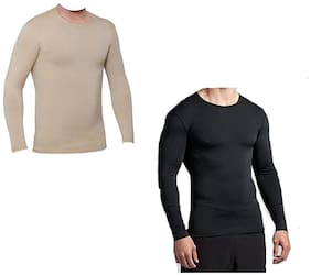 CW Men Black Regular fit Cotton Lycra Round neck T-Shirt - Pack Of 2