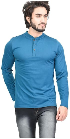 Men Mandarin Collar Solid T-Shirt