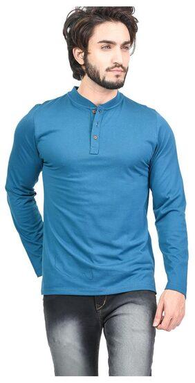 Kalt Men Regular Fit Mandarin Collar Solid T-Shirt - Blue