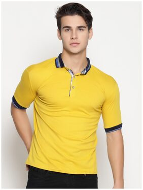 ENSO Men Solid Slim Fit Polo T shirt- Ginger Yellow